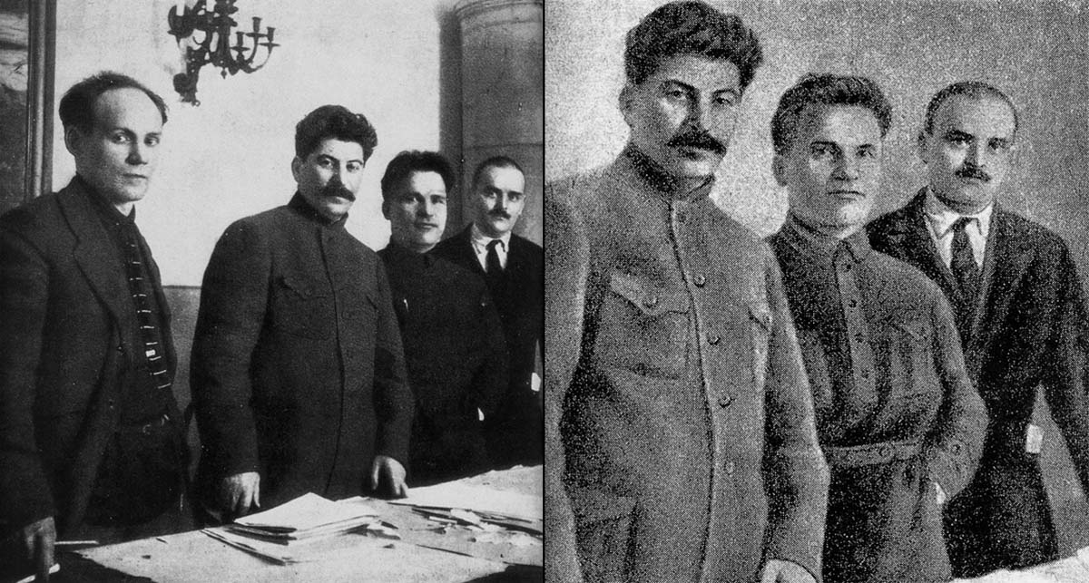 This picture was taken in 1926 and portrays Stalin with party bosses Nikolai Antipov, Sergey Kirov, and Nikolai Shvernik (from left to right). One by one, all except Stalin disappeared from the picture.