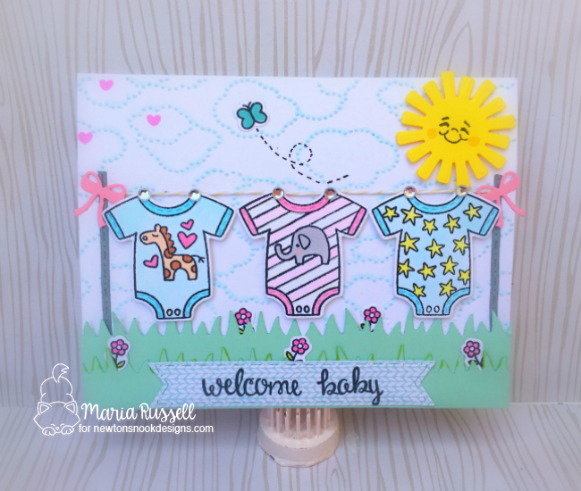 Baby Laundry Card by Maria Russell | Loveable Laundry stamp set and Stitched Onsie die set by Newton's Nook Designs #newtonsnook