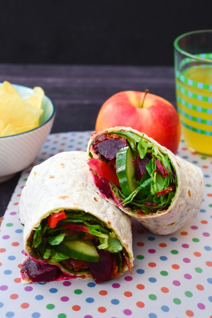 A salad wrap with a powerhouse of flavours and textures including pickled baby beets, sundried tomatoes and pesto. Served with an apple and a small bowl of crisps (chips to my American friends)