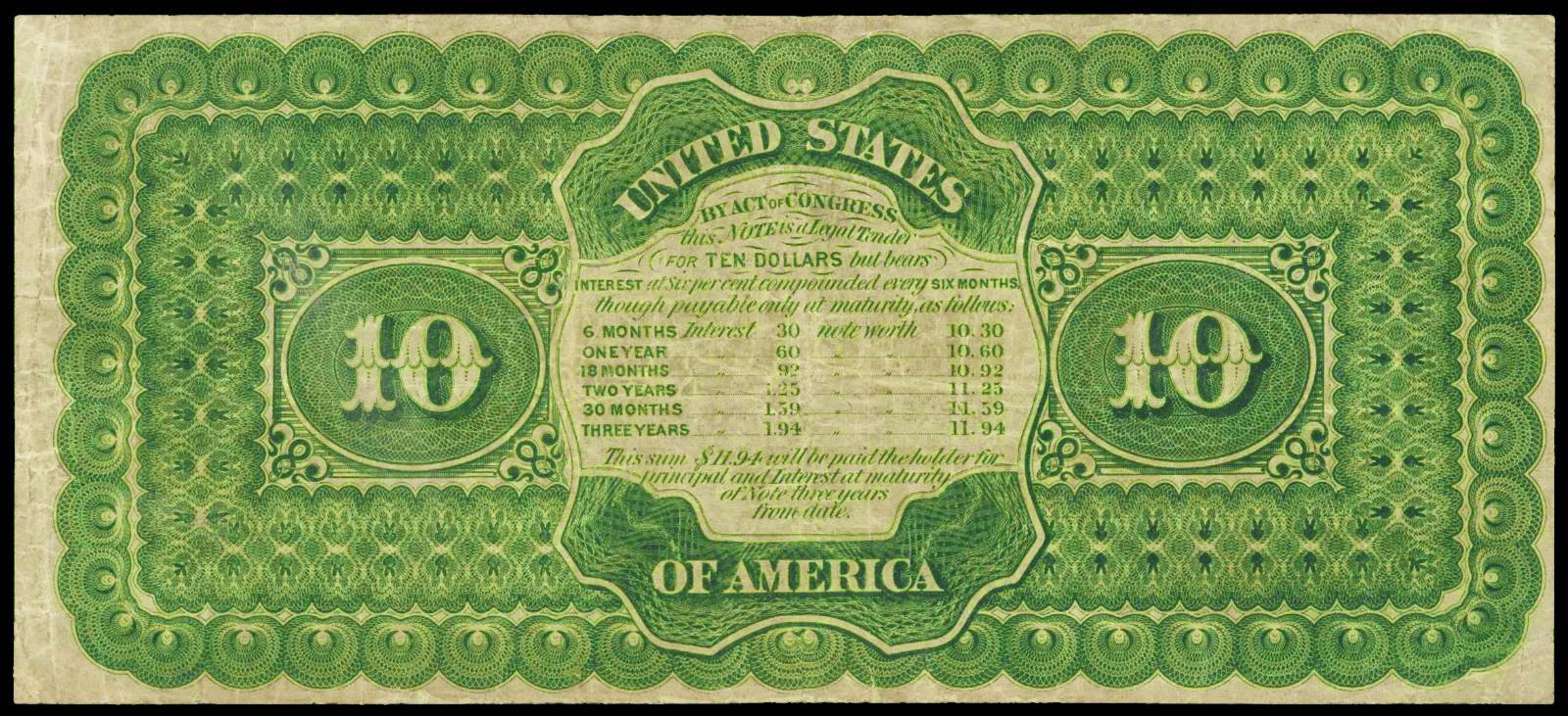 United States paper money 1864 $10 Compound Interest Treasury Note