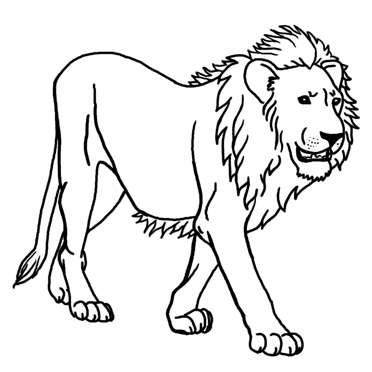 Tranh tô màu con sư tử đang đi