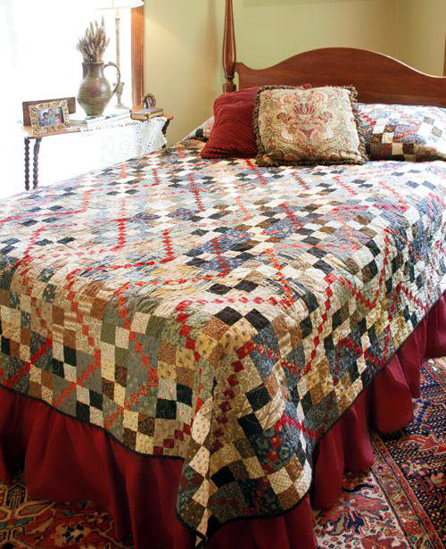 Garnet Trace Queen Size Quilt Free Pattern designed by Sarah Maxwell and Dolores Smith for Quilting Company