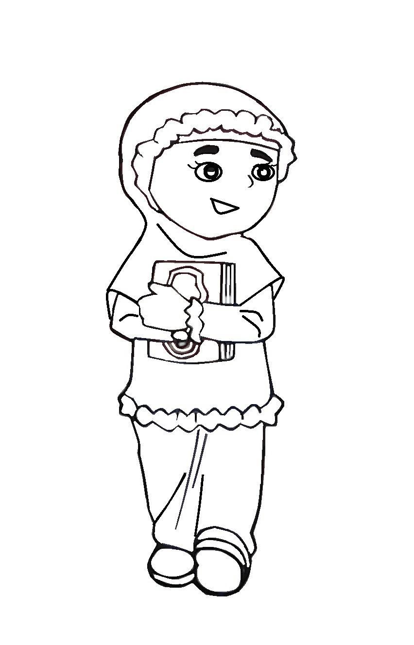 Gambar Kartun Anak Muslim Untuk Diwarnai Gambar Kartun