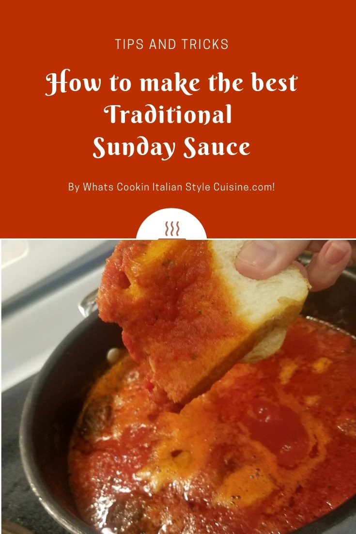 this is a recipe on how to make a traditional Italian sauce thats from the Region of Rome Italy, The photo is shown with a piece of bread dipping into a huge pot of tomato sauce.