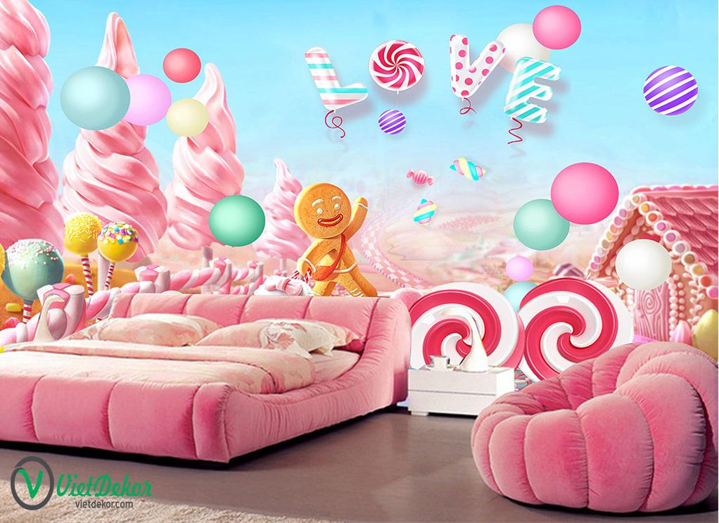 Tranh dán tường 3d đồ trang trí phòng ngủ cho bé yêu