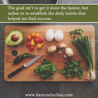 The goal isn't to get it done the fastest, but rather to re-establish the daily habits that helped me find success.