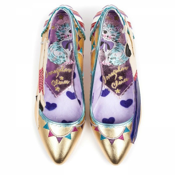 irregular choice lilac heart and metallic kitten insole for aw17