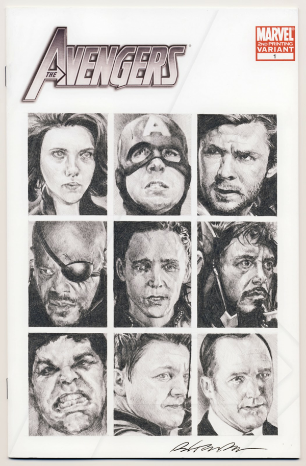 The Avengers Sketch Cover Art by Ben Temples