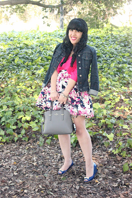 Jean Jacket and Express Floral Print Skirt Spring Outfit
