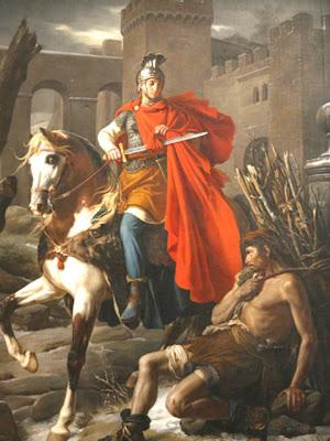 En la Imagen San Martin Caballero a caballo cortando su capa para compartirla con un pobre