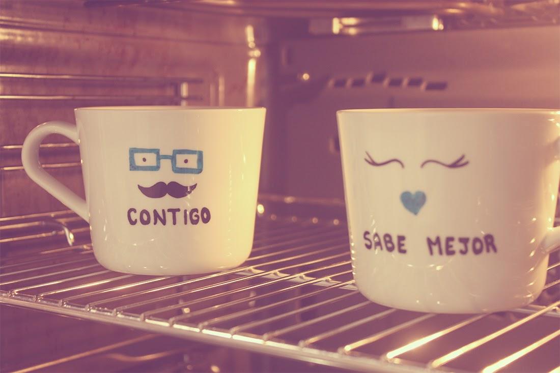 En el horno tazas personalizadas Punto de Lu