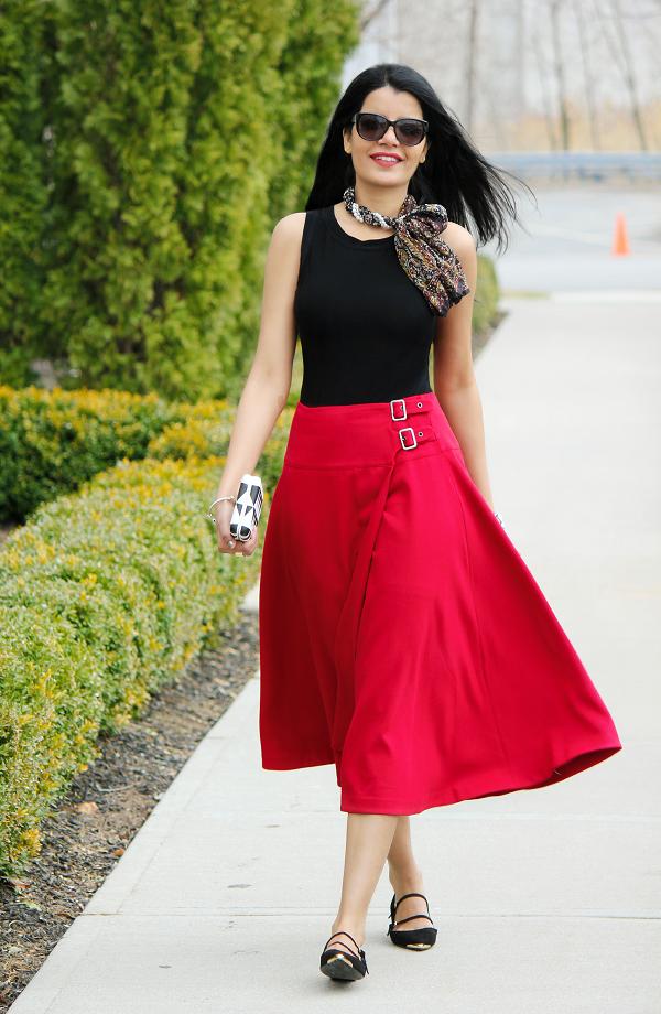 ASOS red midi skirt, How To wear Midi Skirts, Full Midi Skirt, Zara Ballerina Flats