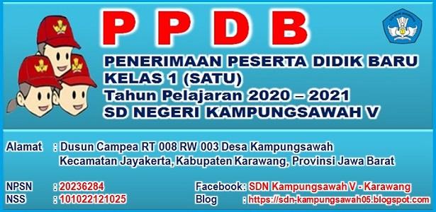 PPDB SDN Kampungsawah V Tahun 2020