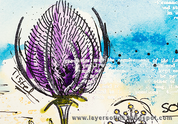 Layers of ink - Summer Garden Watercolour Art Journal Page tutorial, with stamps by Paper Artsy and Prima watercolors.