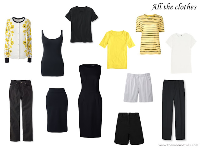 12 piece travel capsule wardrobe in black, white and yellow, to work with a yellow floral cardigan