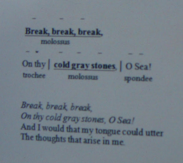 "poetrydish molossus foot alfred lord tennyson s poem ""break break break"" in memory of arthur hallam shows a molossus in verses 1 and 2 of the first stanza as shown below"