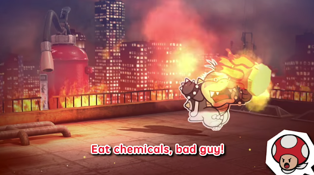 Paper Mario Color Splash eat chemicals bad guy Morton Koopa Jr. fire extinguisher Thing Rescue Red Toad boss