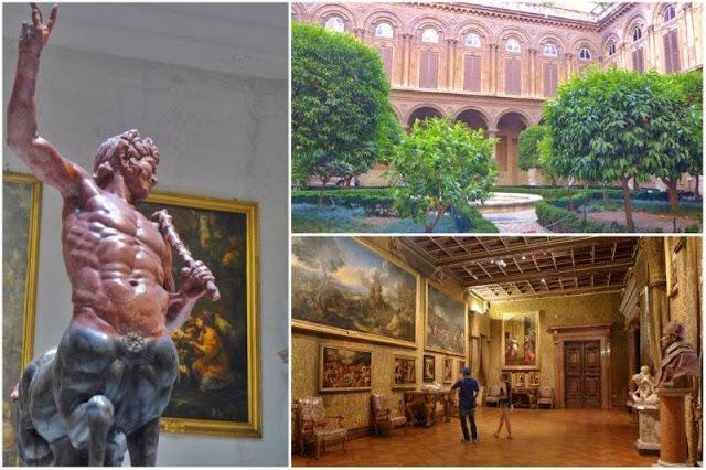 Salas con esculturas y cuadros y patio central en el Palazzo Doria Pamphilj en Roma