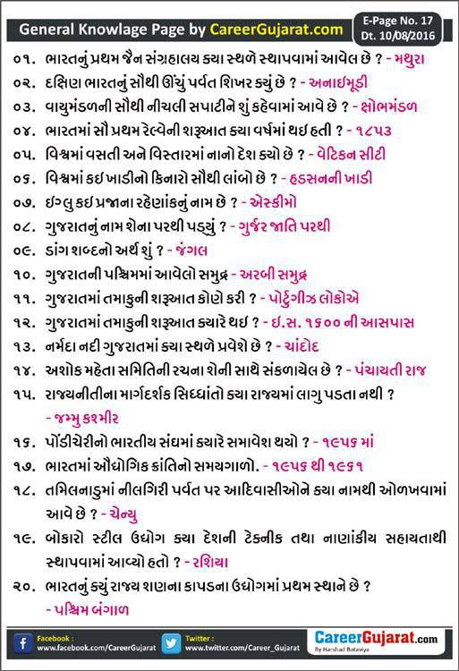 Career Gujarat General Knowledge Page - Dt. 10/08/2016