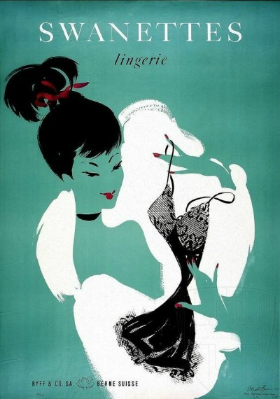 Illustration showing woman admiring lingerie in Swanette Lingerie 1950's Ad Ryff  & Co. SA. Berne Suisse