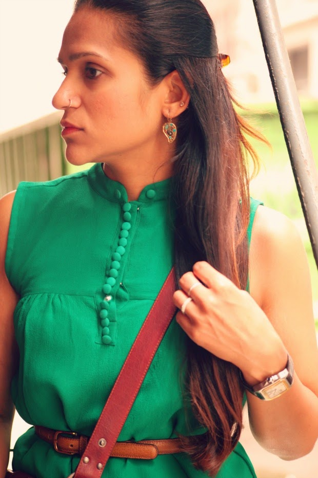 Green Tunic, Cut Offs, Flats, Cross Body Bag, Tanvii.com