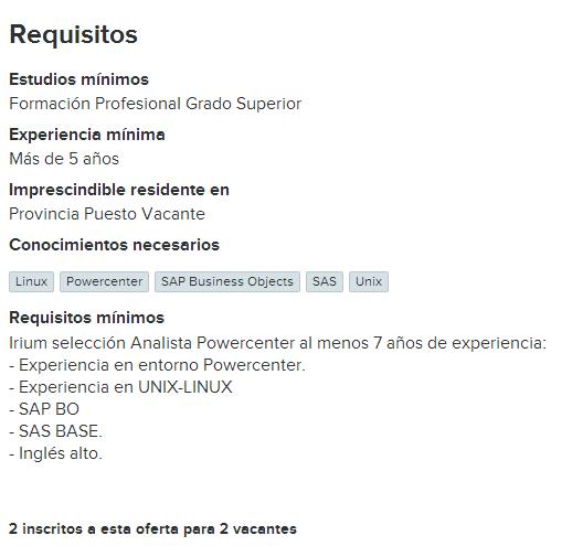 Oferta de empleo de una empresa subcontratista de personal
