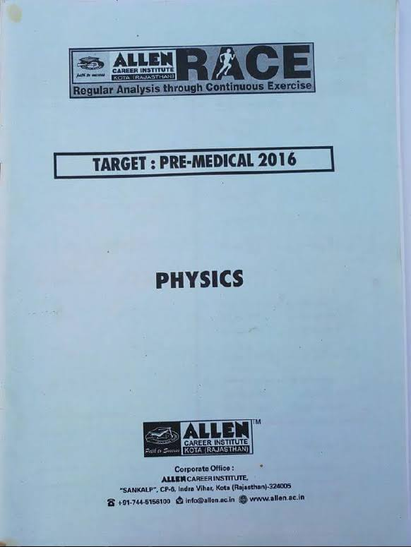 Download Allen Physics Target NEET RACE Material Full Pdf