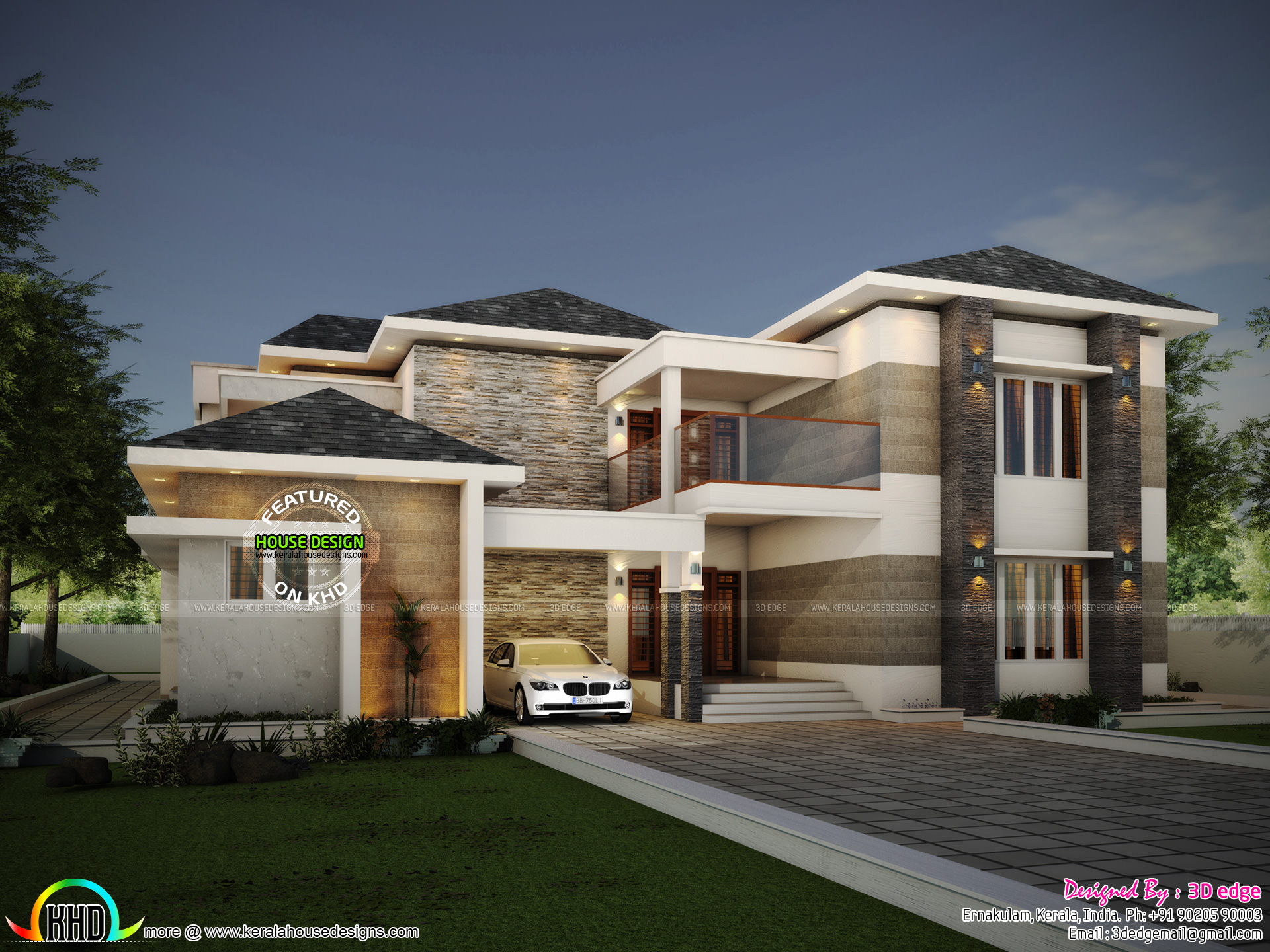 Modern house elevation and plan - Kerala home design and ...