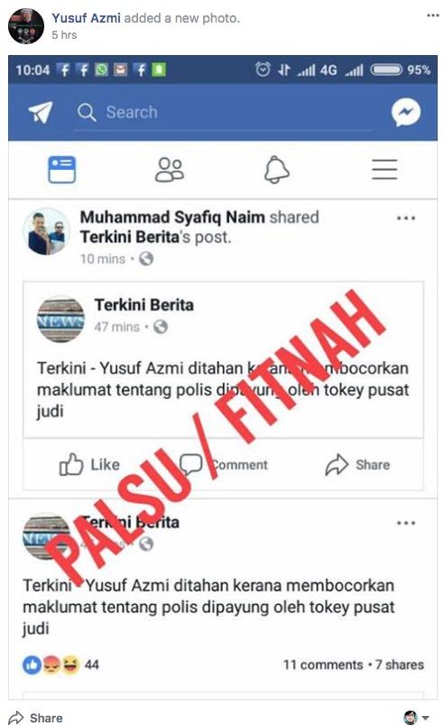 Bocor Maklumat Tentang Polis Dipayung Tauke Pusat Judi, Yusuf Azmi Ditangkap? Ini Kisah Sebenarnya.