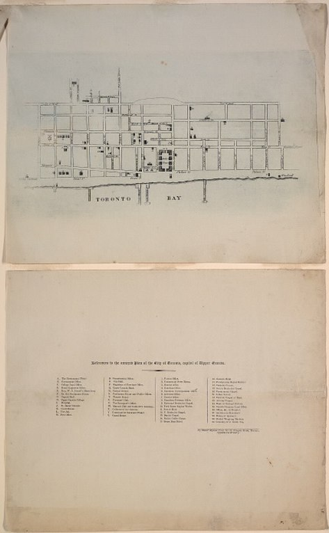 1834 Alpheus Todd Engraved Plan of the City of Toronto