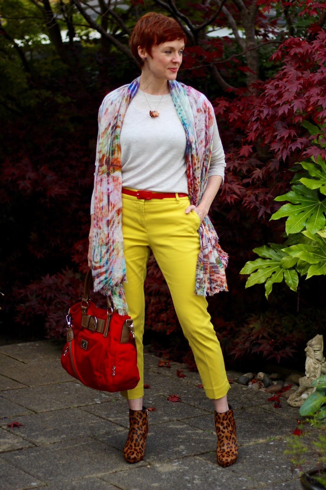 Yellow Trousers in Autumn, with Leopard Boots & Red | Over 40 | Fake Fabulous