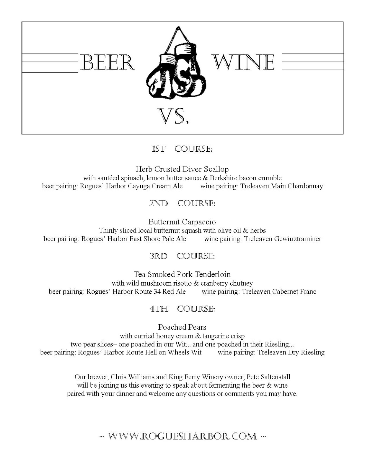Rogues harbor inn blog rogues 39 harbor inn 39 s beer vs wine for Wine dinner menu template