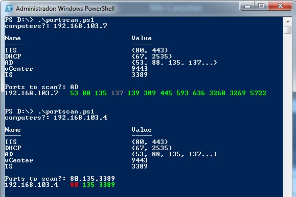 Check opened ports with Powershell