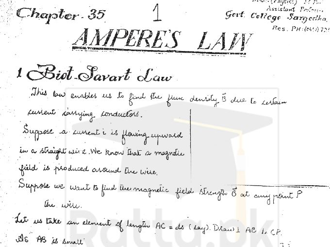 BSc Physics Ampere's Law Notes pdf download - Ratta pk
