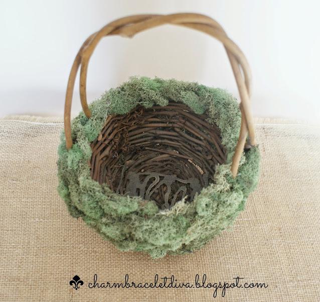 grapevine basket green reindeer moss