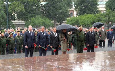 Wreath-laying ceremony at Tomb of Unknown Soldier.