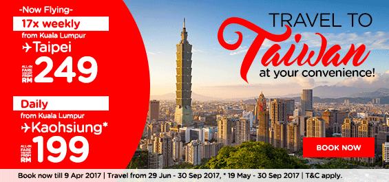 AirAsia Taiwan Sale All-in Fare KL - Taipei RM249, Kaohsiung RM199
