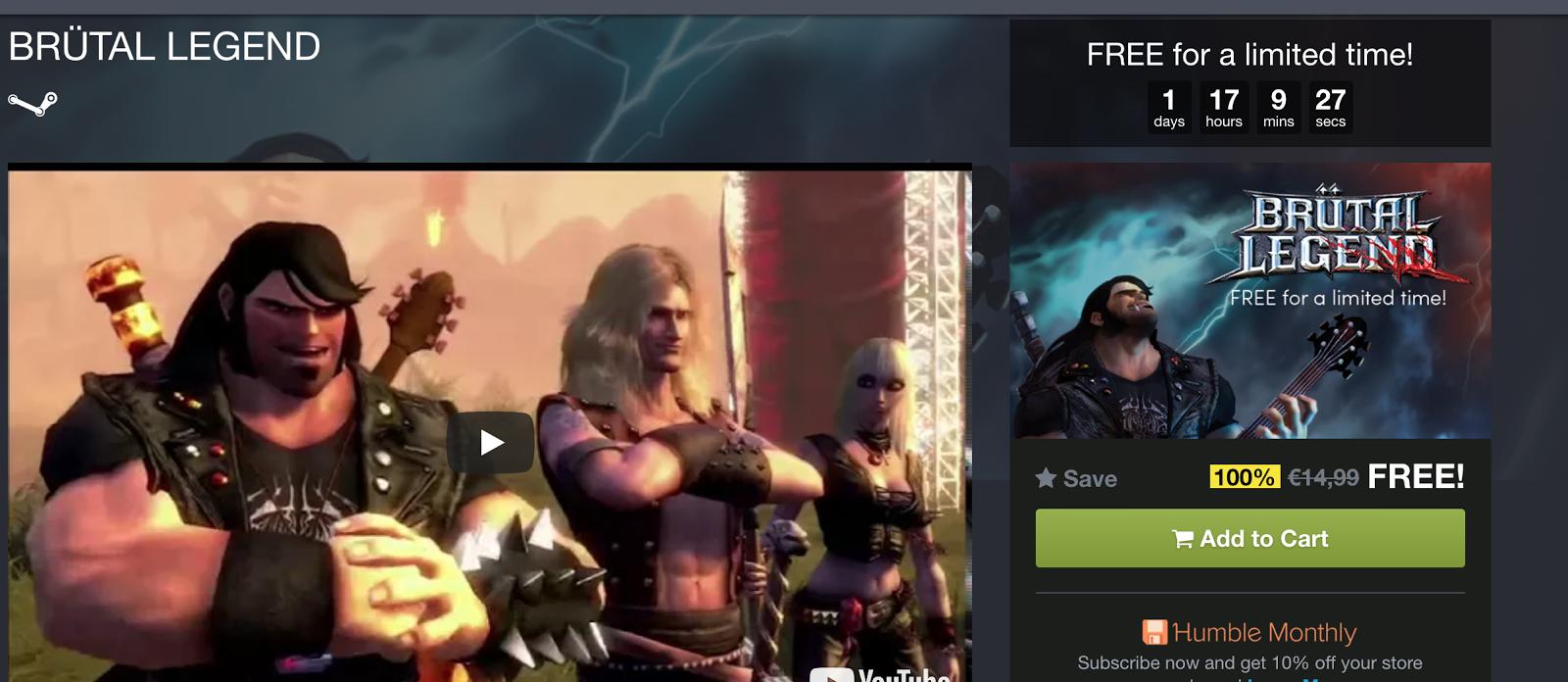 Consigue Brutal Legend gratis para ordenador