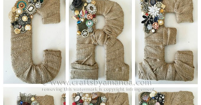 Condo Blues: CREATE: Vintage Jewelry and Burlap Letters