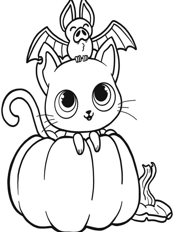 Tranh tô màu quả bí ngô và con mèo Halloween
