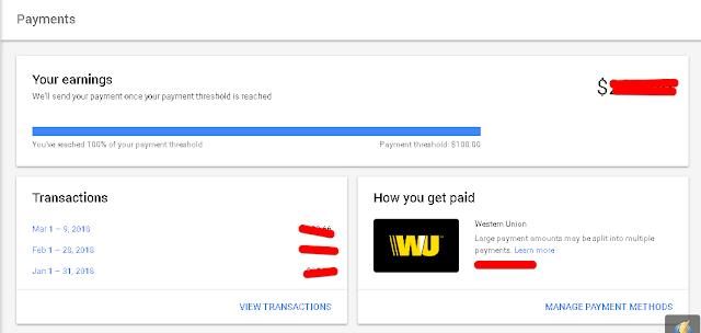 Selesai kini pembayaran Gaji AdSense saya akan dibayarkan melalui Western Union