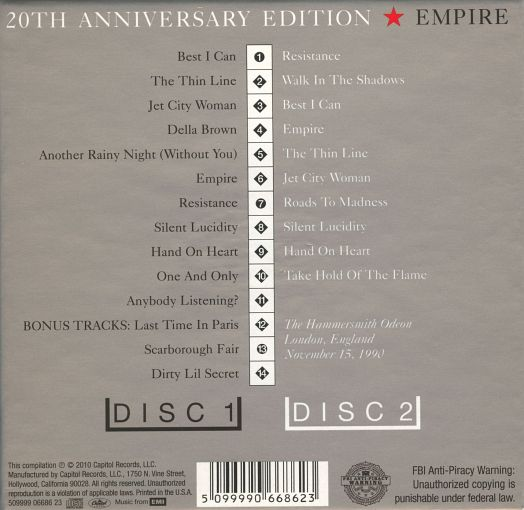 QUEENSRYCHE - Empire [20th Anniversary Edition remastered] (2-CD) back