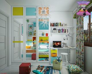اشيك ديكورات غرف نوم اطفال اولاد وبنات مشتركة Cool Shared Kids Room