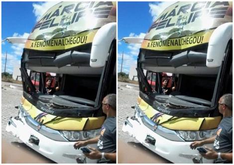 Ônibus da cantora Márcia Fellipe se envolve em acidente na Paraíba