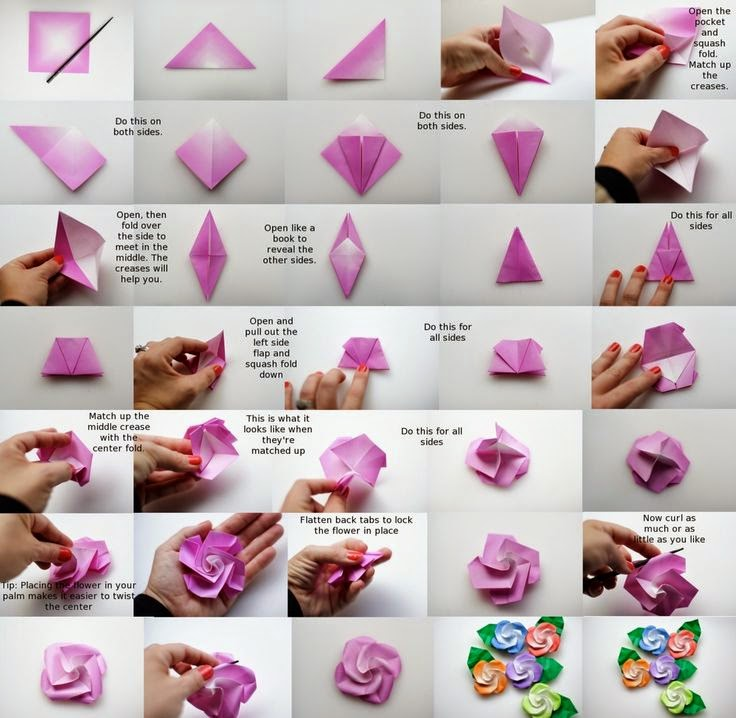 How to DIY Pretty Origami Rose | Origami rose, Origami flowers ... | 718x736