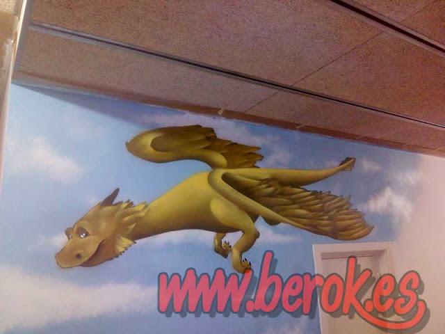 graffiti infantil dragón