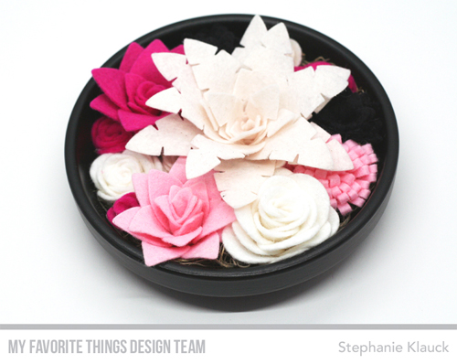 Handmade felt flower garden from Stephanie Klauck featuring products from My Favorite Things #mftstamps