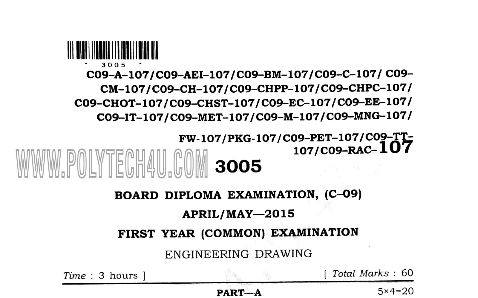 Diploma 1st Year Drawing Question Paper April May 2015 Common C 09