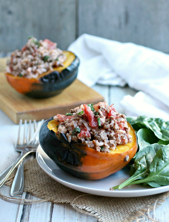 Tomato Rice Chili in a Squash Bowl