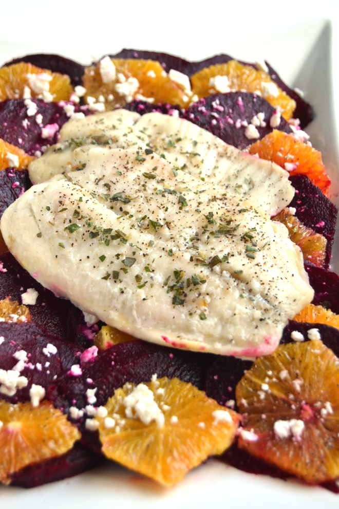 Roasted Beets and Oranges with Baked Tilapia is a perfect flavorful meal for a weeknight or to serve to guests. Loaded with flavor, this meal will be sure to delight your tastebuds! www.nutritionistreviews.com